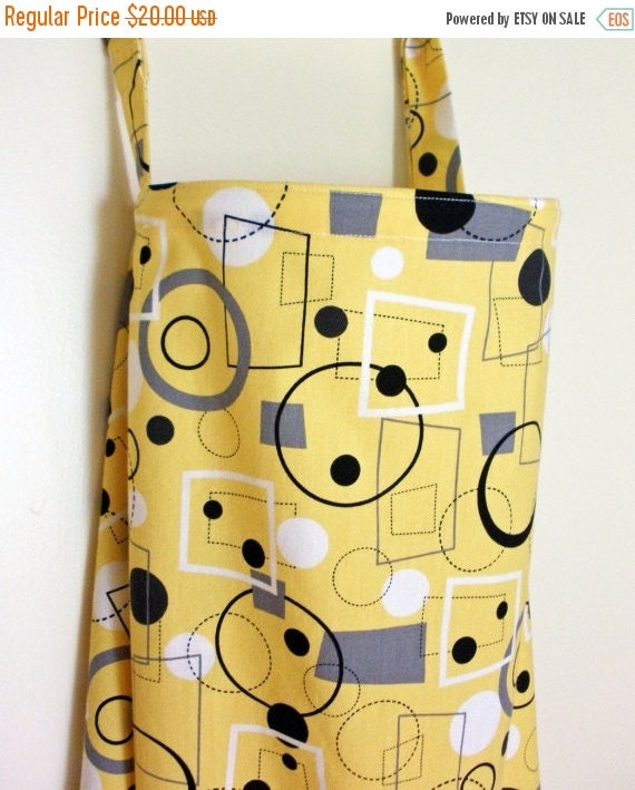 Clearance Nursing Cover Up - Yellow with Black, Grey and White Geometric Shapes - Perfect for the Modest Nursing Mom