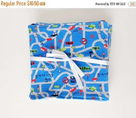 Clearance Blue Roadway  Flannel Reusable Cloth Wipes, Set of 10