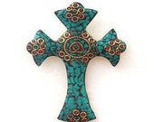 SALE/Large Brass Cross - Tibetan Cross - Cross with Turquoise, Red Coral and Brass Mosaic - Handmade in Nepal - Brass Cross
