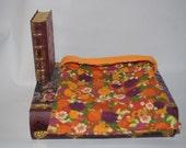 SALE Fall Flowers Cotton with Orange Fleece Snuggle Bag