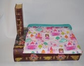 Pink Princess Cotton with Teal Fleece Snuggle Bag