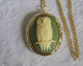 GREEN Owl Bird FEATHER Locket Necklace Pill Picture Keepsake Box Gold