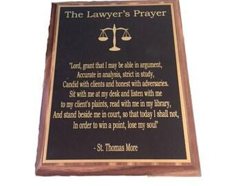 Lawyer Prayer Plaque- (Lawyer Plaque, Lawyer Gift, Attorney Prayer, Attorney Gift, Prayer Plaque, Profession Prayer, Plaque, Wall Plaque)