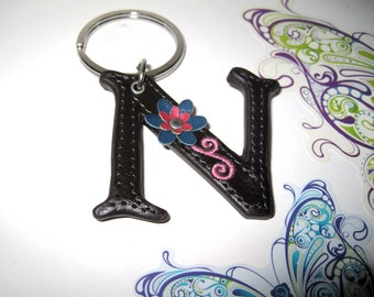 Key Chain, Letter N, Free Shipping, Leather N, Brown N, personalized key chain, Key Chain with a flower