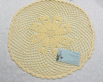 Vintage 15 inch Pale Yellow hand crochet doily for sewing, housewares, handbags, pillows, home decor MarlenesAttic
