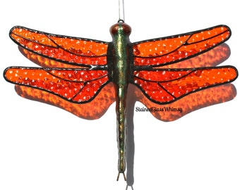 Stained Glass DRAGONFLY Suncatcher, Tangerine Orange Wings , Textured , Hand-Cast Metal Body , USA Hand-Made