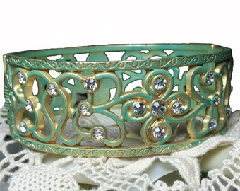 Beautiful scroll metal cuff bracelet in sea foam pantina with rhinestones - opens for easy on/off ~ classy and elegant