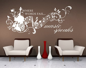 Great Wall Decals Music Speaks Collage   Vinyl Lettering Text Wall Words Stickers  Art Custom Home Decor Part 29