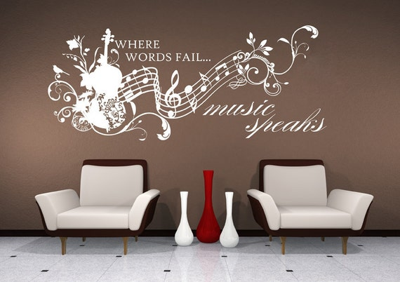 Wall Decals Music Speaks Collage - Vinyl Lettering Text Wall Words Stickers Art