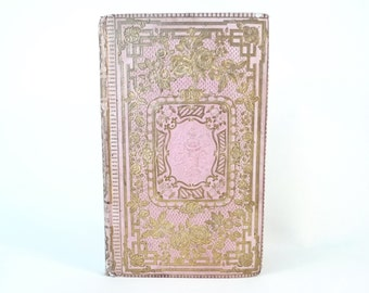 Unique Guest Book, Spring Wedding Idea, Personalized Blank Book, Anniversary Gift, Travel Journal, Small Sketchbook, Pink Antique Book