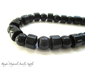 Jet Black Beads. 7mm Round Beads, 8mm Chunky Tubes / Rondelle Beads. Solid Black Glass Beads. Faux Onyx Assortment - 35 Pieces