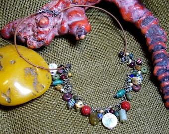 "Designer Jewelry -21 1/2"" necklace- tradebeads, old bone, cinnabar, sterling, greek leather -handmade by Deb DJ170"