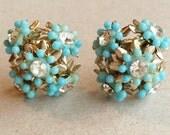 cute delicate 50s 60s vintage metal screw back ball shaped earrings with aqua blue plastic flowers and rhinestones