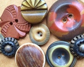 collectible vintage eco friendly mildly distressed autumn celluloid buttons in rust orange tan brown gold--mixed lot of 9