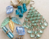 craft lot destash broken jewelry of aqua blue sea foam--mixed lot of 12 items
