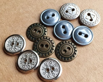 eco friendly assorted metal buttons//silver tone brass tone gray tone//mixed lot of 11