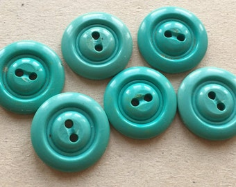 mildly distressed aqua blue-green vintage eco friendly buttons--matching lot of 6
