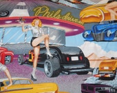 Private listing for Rosemary Phil's Drive In Pin-Up Fabric - Blue Background - Alexander Henry Fabric 3 Yards