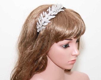 Leaf Rhinestone, Feather Tiara, Wedding Headband, Wedding Hair Accessory, Hairband, Leaf Tiara, Ribon Headband, Wedding Headpiece