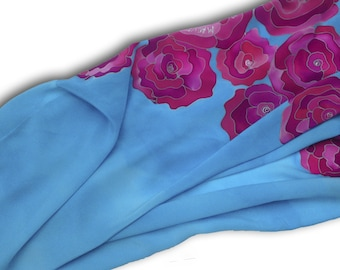Hand painted silk scarf with pink roses in sky blue. Sky blue, pink.