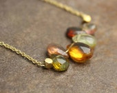 Multi Gemstone Bar Necklace.  Gold Fill or Sterling Silver. Golden Rutilated Quartz, Tourmaline, and Citrine. NS-1919