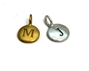 Add on Initial Charm. Add Letters of Your Choice to Any Necklace or Bracelet. 22k Gold Vermeil or Sterling Silver Initial Charm.