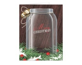 Christmas Cards - Rustic Mason Jar Pin Boughs - Printed Christmas Cards - Country Mason Jar Holiday Cards