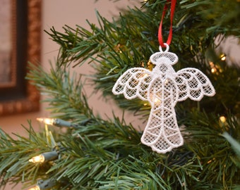 Angel embroidered lace ornament