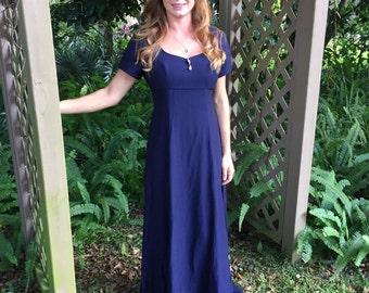 Vintage Modest Evening Dress Midnight Purple Floor Length Gown