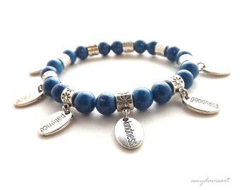 Fruit of the Spirit Charm Bracelet, Christian Jewelry, Scripture Bracelet, Galatians 5, Blue Beads, Stacking Bracelet, Christian Gift Women