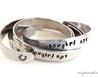 Cowgirl up! Handstamped Bracelet, Cowgirl Jewelry, Cuff Bracelet, Jewelry for Women, Horseshoe, Cowgirl Wedding, Christmas Stocking Stuffer