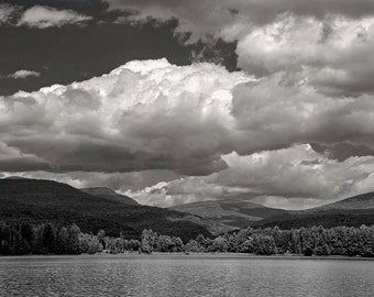 The Lake with Dramatic Clouds Black and White Photographic Print