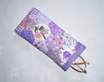 Patchwork Spectacle Case/Pouch -  Handstitched Hexagons in Lilac Cotton Fabrics