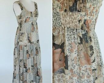Vintage 1970's Brown Floral Cotton Dress - Smocked Empire Waist Maxi Dress - Cochella Music Festival Dress - ladies Size Medium
