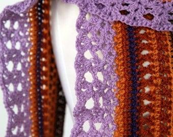 Hermione - Lilac Lace Peruvian Highland Wool Handmade Crochet Scarf