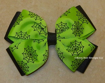 """3 Colors!  Spider Web Print on Black Double Butterfly Style RoseyBow® Halloween Hair Bow - 4"""" - Purple, Green or Orange Spider Webs on Black"""