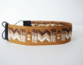Thick Brown and Cream Aztec Tribal Woven Headband