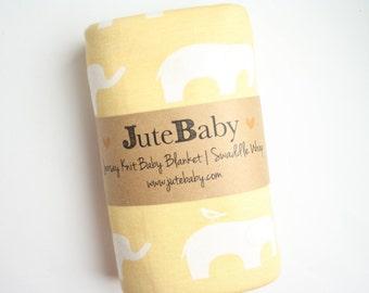 Yellow Elephant Organic Baby Blanket | Safari Animal Baby Blanket | Receiving Blanket by JuteBaby