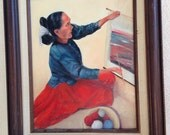 Vintage painting American Indian woman weaving in wood frame by Maxine Boyer