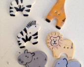Vintage ceramic Wild Animal buttons set 6 zebra elephant hippo giraffe lion