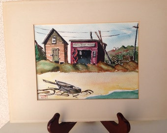 "Vintage rustic 1960 signed watercolor painting by Harry Hill titled Mac's Boat House 5""x8"""