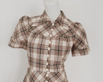 Tan and cream gingham retro 70's mini shirt dress japanese vintage