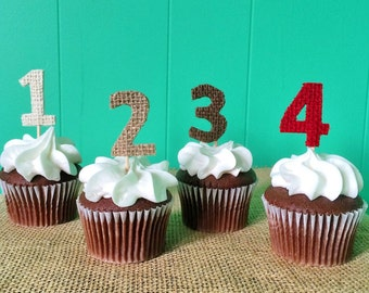Set of 12-Burlap Number Cupcake Toppers-Choose Your Numbers-Choose Your Colors-Rustic/Country/Shabby Chic-Birthday-Anniversary-Wedding