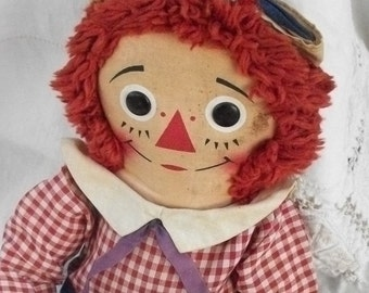 Vintage Raggedy Andy ~ Cloth Body ~ Rag Doll ~ Red White & Blue