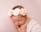 Rose Crown, Baby Headband, Pink headband- Pink and Ivory Rose Headband on Ivory Lace Elastic Hair Accessories