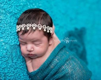 Rhinestone Headband, Pearl Headband, Baby Headband- Pearl Rhinestone Halo Hair Accessories