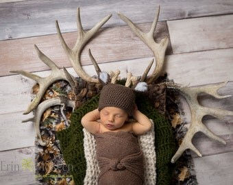 Newborn Crochet White Tail Deer Hat Photo Prop Baby Boy Baby Girl