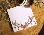 Set of 6 - Printed Christmas Cards - Deer Xmas Card - Holiday Card - Animal Greeting Card
