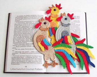 123 Crochet Pattern - Rooster decor or bookmark - Amigurumi PDF file by Zabelina Etsy