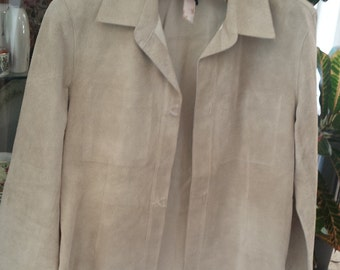 womens DKNY size 8 100%  leather light tan jacket